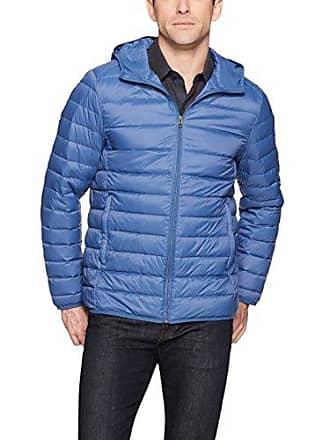 Amazon Essentials Mens Lightweight Water-Resistant Packable Hooded Down Jacket, Blue, Medium