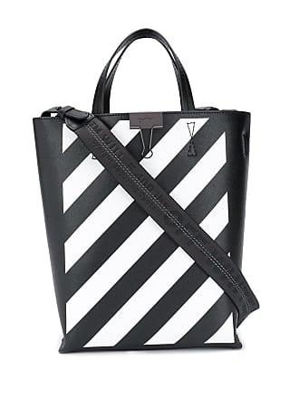 99afd2d8f Off-white Binder Clip diagonal striped tote - Black