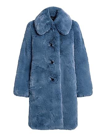 Marc Jacobs Plush Faux Fur Oversized Coat Blue