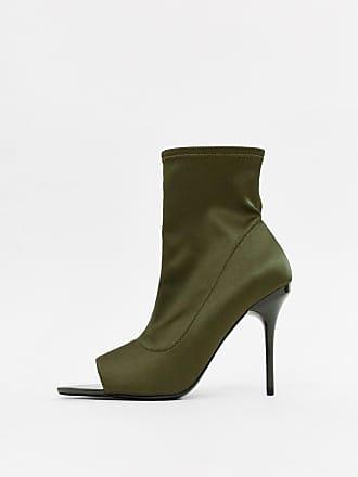 Asos Esther - Stivaletti a calza kaki aperti con tacco a spillo - Verde d47f3005aac