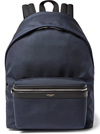 430d7676394f Saint Laurent City Leather-trimmed Canvas Backpack - Navy
