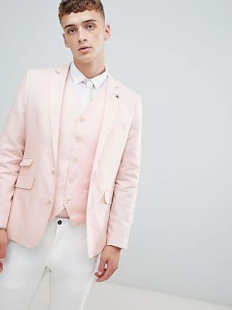 Gianni Feraud Veste de costume de mariage ajustée 55% lin avec épingle de  col fleur fdefb0be8dc
