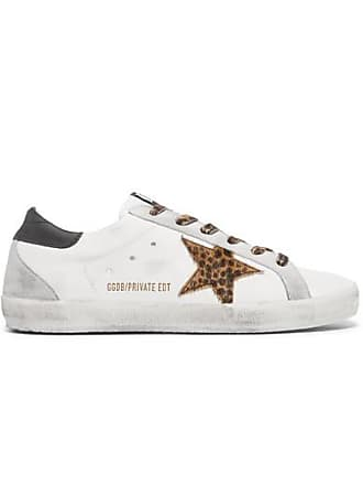 Golden Goose Superstar Leopard-print Calf Hair And Distressed Leather  Sneakers - White 57d94479e