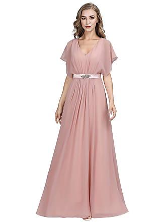 c78ce01a0f4 Ever Pretty Women Elegant V Neck with Short Flutter Sleeve Empire Waist  Long A line Chiffon
