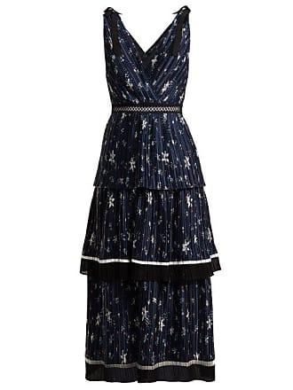 Self Portrait Tiered Star Print Satin Midi Dress - Womens - Navy