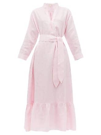 Wiggy Kit Nehru Ruffle Linen Dress - Womens - Pink