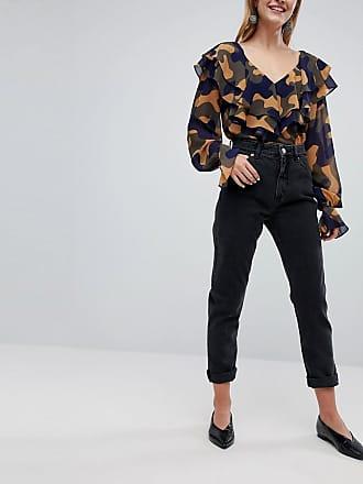 Monki Kimomo - Svarta jeans i ekologisk bomull och mom jeans-modell med hög  midja 6bbf333b728c6