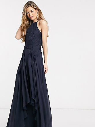 Asos Tall ASOS DESIGN Tall Bridesmaid pinny maxi dress with ruched bodice and layered skirt detail-Navy