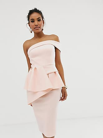 Asos Bandeau origami peplum pencil midi dress - Pink