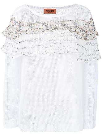 Missoni sheer ruffle sweater - White
