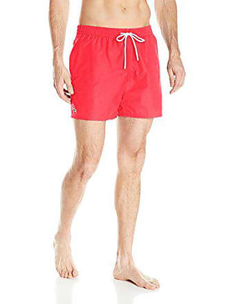 3565eed1397ad Lacoste Mens Taffeta Swim Trunk, Toreador/Turkey Red, X-Large