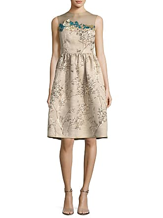 275410f5667 Talbot Runhof Ponnel Sleeveless Twig Silk Jacquard Cocktail Dress with  Floral Embroidery