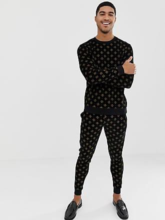 Asos Sweat-shirt pantalon de jogging skinny standard en velours à imprimé  pailleté doré 1101f98ec22