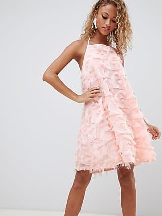 Glamorous Vestito allacciato al collo con nappe-Rosa