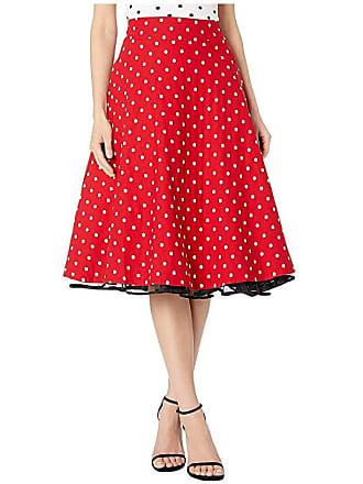 Unique Vintage Retro Style Red White Polka Dot High-Waisted Vivien Swing Skirt (Red/White Dot) Womens Skirt