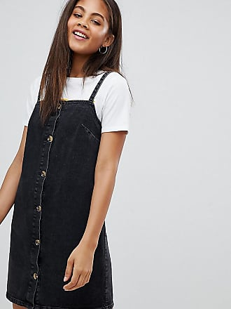 53e38dc0e8e5f Asos Tall ASOS DESIGN Tall denim button through slip dress in black with tortoiseshell  buttons