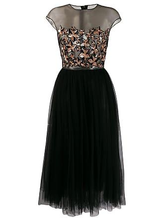 Elisabetta Franchi sequin star embroidered dress - Black