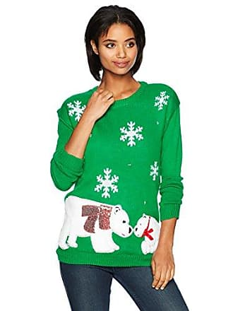 Allison Brittney Womens Christmas Snowflakes and Polar Bear Pull Over Sweater, Green, L