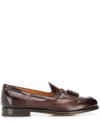 Santoni fringe detail loafers - Brown