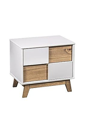 Manhattan Comfort CS92508 Livonia Ultra Modern Bedroom Nightstand, White/Natural Wood