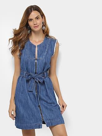 Vestido jeans longo ombro a ombro