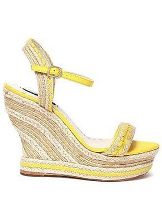 Alice & Olivia Alice + Olivia Woman Leather-trimmed Jute Wedge Espadrille Sandals Pastel Yellow Size 38.5