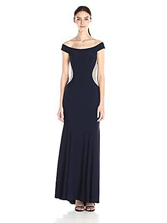 Xscape Womens Long Off The Shoulder Ity with Bead Sides, Navy/Nude/Silver 12