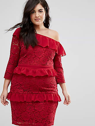 Lovedrobe Allover Lace Ruffle One Shoulder Pencil Dress - Red