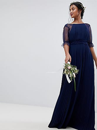 Tfnc Petite Pleated Maxi Bridesmaid Dress With Spot Mesh Frill Detail - Navy