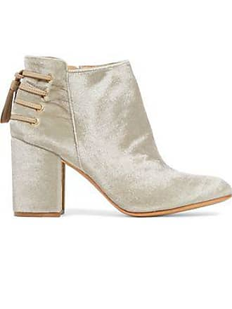 f9dbb8845d1a3 Rachel Zoe Rachel Zoe Woman Lace-up Leather-trimmed Velvet Ankle Boots  Beige Size