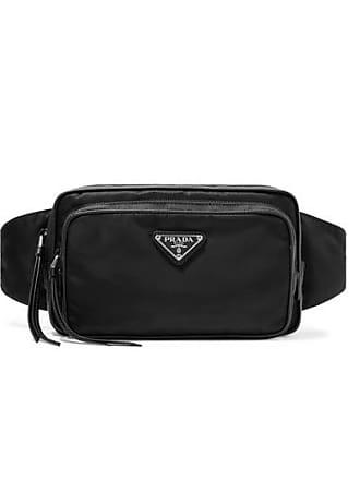 Prada Leather-trimmed Shell Belt Bag - Black