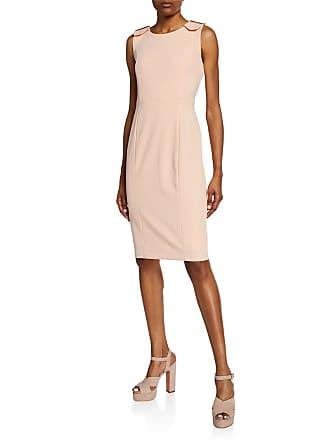 Iconic American Designer Shoulder-Buckle Sheath Dress