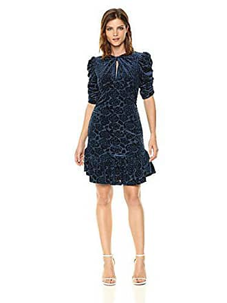 Donna Morgan Womens Knotted Front Puff Sleeve Dress with Flounce, Navy, 12