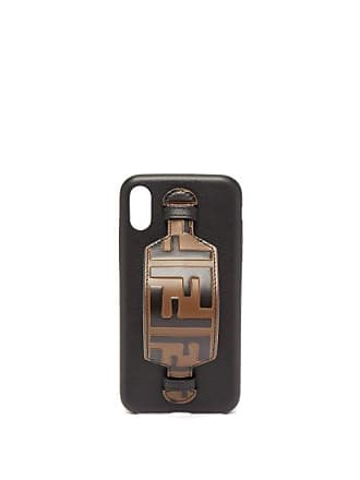 Fendi Ff Logo Leather Iphone X Case - Womens - Black Brown