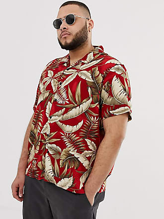 New Look Plus viscose revere shirt in leaf print in red - Red