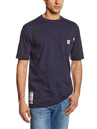 Carhartt Work in Progress Mens Flame Resistant Force Cotton Short Sleeve T-Shirt,Dark Navy,Small
