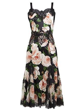 97fddd7c Dolce & Gabbana Rose Print Silk Blend Satin Dress - Womens - Black Pink