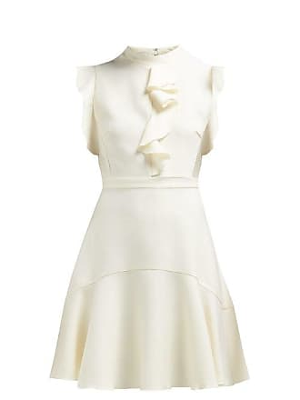 Giambattista Valli Sleeveless Ruffle Trimmed Ponte Mini Dress - Womens - Ivory