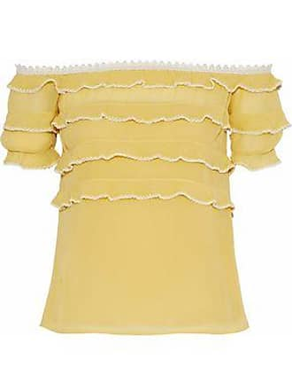 a1ec3280ee004 Red Valentino Redvalentino Woman Off-the-shoulder Tiered Silk-chiffon Blouse  Marigold Size