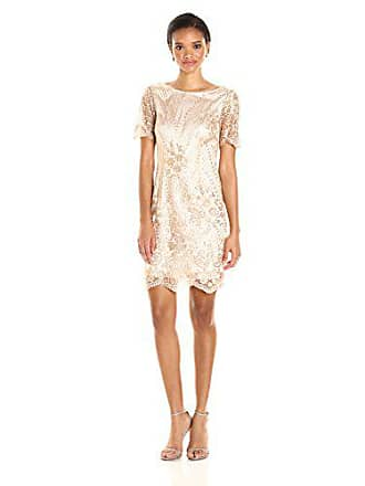 9c08fa376668 Tahari by ASL Womens Short Sleeve Sequin Lace Dress, Shell Pink, 8