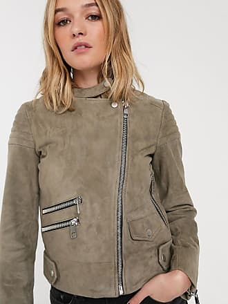 Whistles suede collarless leather jacket-Green
