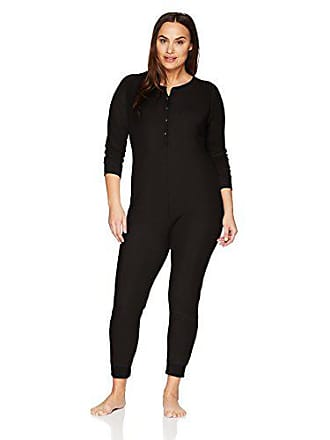 Fruit Of The Loom Womens Plus Size Fit for Me Waffle Thermal Union Suit, Black Soot, 2X