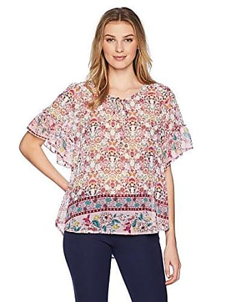 Oneworld Womens Ruffle Short Sleeve Woven Peasant Top, True Expression/Tempted, Large
