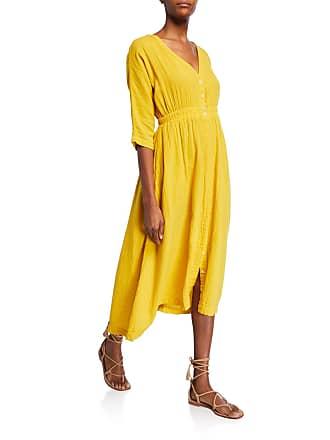 Xirena Georgia Button-Front Half-Sleeve Cotton Dress