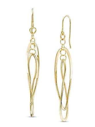 Zales Curved Entwined Oval Drop Earrings in 14K Gold