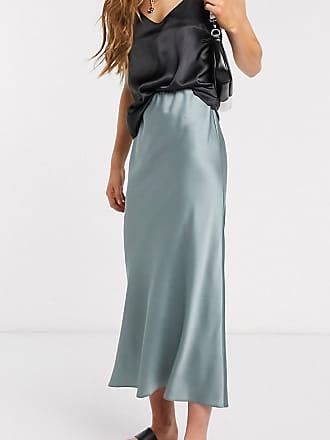 Asos Tall ASOS DESIGN Tall bias cut satin slip midi skirt in green