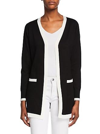 Neiman Marcus Long Open-Front Contrast Cardigan