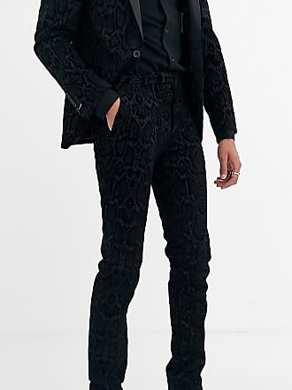 Twisted Tailor Tall - Pantaloni da abito super skinny grigi pitonati floccati-Grigio