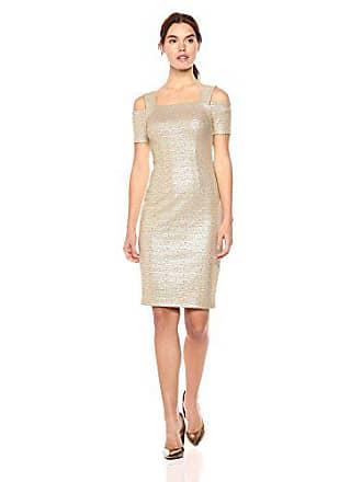 7f38b9e11b5d Nicole Miller Womens Metallic Printed Knit Cold Shoulder Midi Sheath Dress