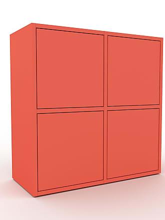 MYCS Commode - Rouge, contemporaine, élégantes, avec porte Rouge - 79 x 80 x 35 cm, personnalisable